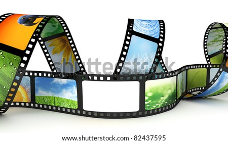 Film with images and blank space - stock photo
