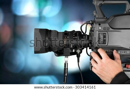 Filming, Camera Operator, Home Video Camera. - stock photo