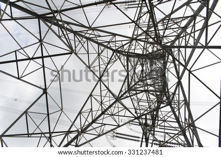 Filming electrical tower from below of it