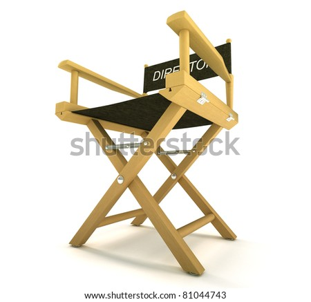filmmaker or producer: directors chair over white background - stock photo