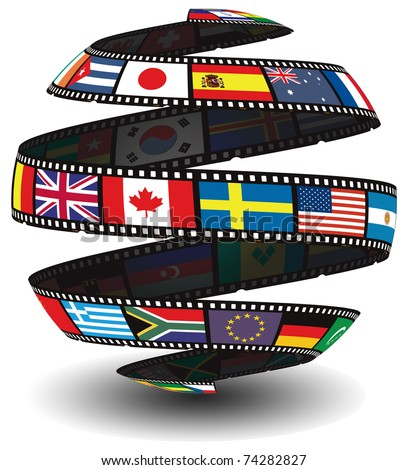 Films strip containing flags in the shape of a globe/sphere - stock photo