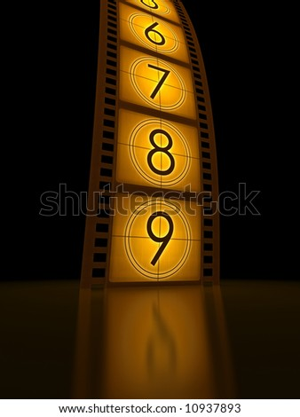 Filmstrip (countdown) standing on the reflective surface. - stock photo