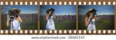 filmstrip photo frames with woman outdoors - all photos are mine and model released - stock photo