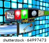 Filmstrip with technology and environment images on blue background - stock photo