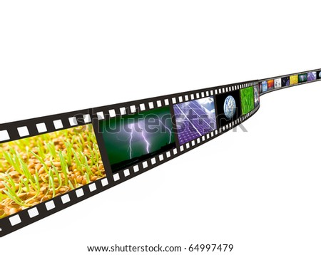 Filmstrip with technology, energy and environment images on white background - stock photo