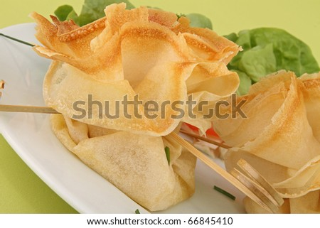 filo pastry, canape food - stock photo