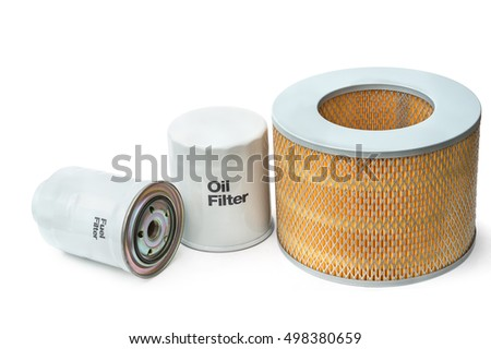 filter elements of the internal combustion engine - fuel, grease, air, isolated on white background