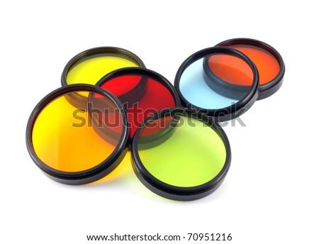 Filter for lenses over white - stock photo