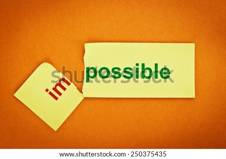Filter image. Changing the word impossible transformed into possible. Conceptual of successfully overcoming problems. - stock photo