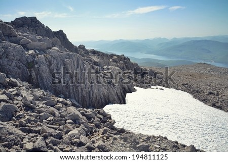 Filtered picture of path to the Ben Nevis summit - the highest mountain in the United Kingdom  - stock photo
