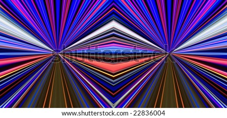 Filtered traces of street illumination. Symmetrical montage. - stock photo