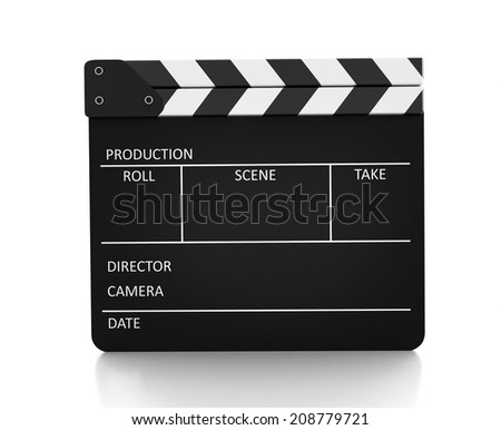Fim slate Clapboard isolated on white background
