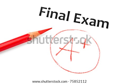 Final exam marked with A+ with red pencil isolated on white - stock photo