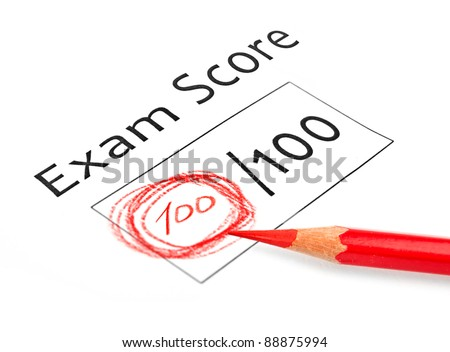 Final exam marked with 100% isolated on white
