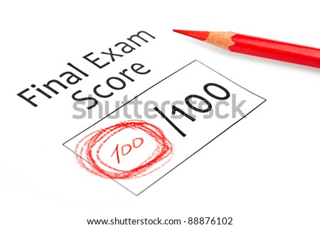 Final exam marked with 100% isolated on white - stock photo