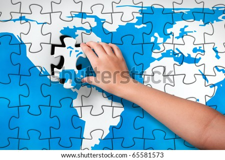 Final piece childs hand inserting missing stock illustration childs hand inserting missing piece of jigsaw puzzle world map into the gumiabroncs Gallery