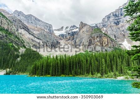 Final stretch of wonderful Moraine Lake, Banff National Park, Canada - stock photo
