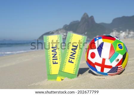 Final tickets with with international flag team football Ipanema Beach Rio de Janeiro Brazil - stock photo