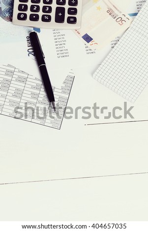 Finance. Accounting documents on the table