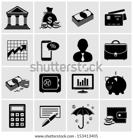 Finance and banking icons - stock photo