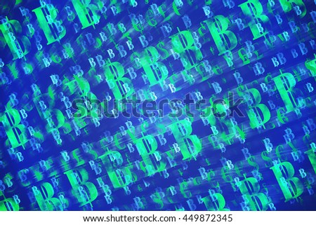 Finance and Fintech concept background. Abstract international currencies and Bitcoin symbol on gradient multi-color background. - stock photo