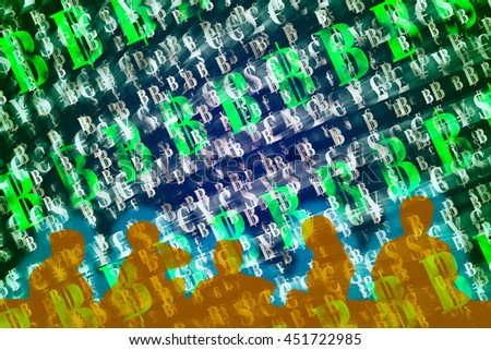 Finance and Fintech concept background. Group of peoples on abstract international currencies and Bitcoin symbol on gradient multi-color background. - stock photo