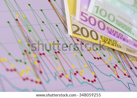 finance and graph shows success in stock market - stock photo