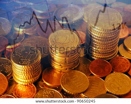 Finance background with coins and graph. - stock photo
