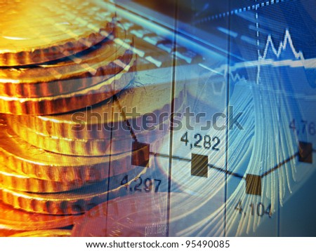 Finance background with coins, graph and laptop. - stock photo