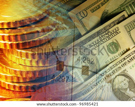 Finance background with dollars and coins - stock photo