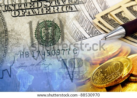 Finance background with dollars and euro cents. Finance concept. - stock photo