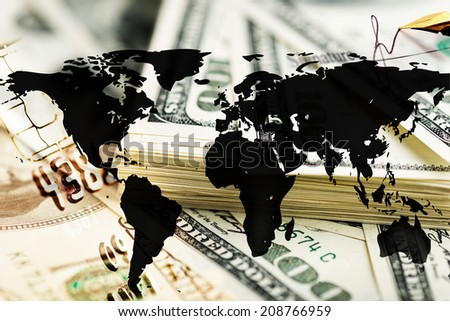 Finance background with dollars and world map. Finance concept.  - stock photo