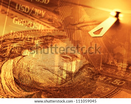 Finance background with dollars, clock and currency graph - stock photo