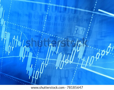 Finance background with market charts and binary data