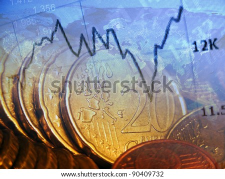 Finance background with market data and euro cents. Finance concept.