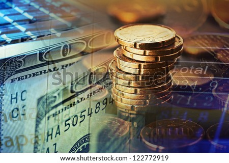 Finance background with money and pc. Finance concept. - stock photo