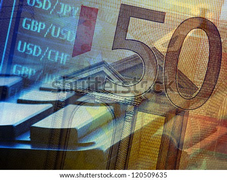 Finance background with stock market chart, calculator and euro. - stock photo