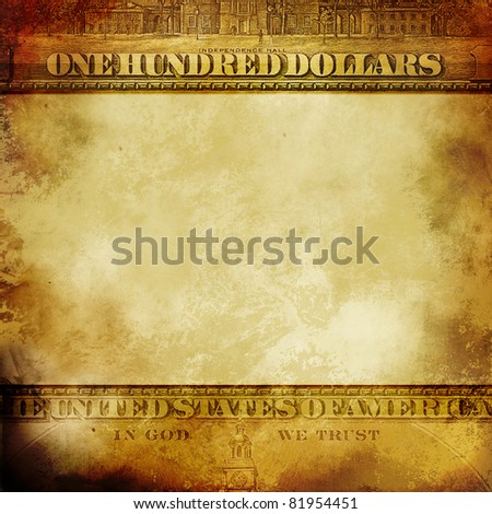Finance background with symbols of dollar in grunge style - stock photo