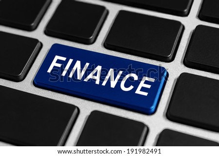 finance blue button on keyboard, business concept - stock photo