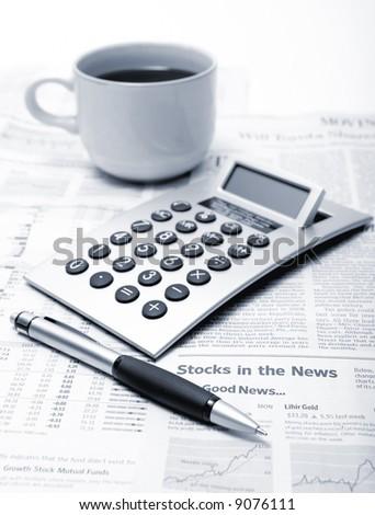 Finance breakfast - stock photo
