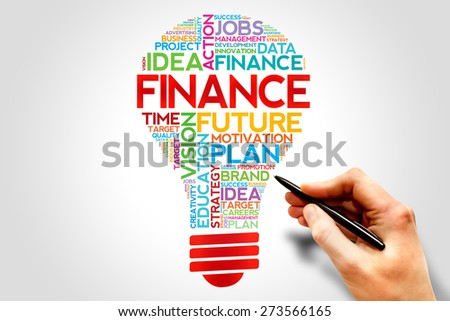 FINANCE bulb word cloud, business concept - stock photo