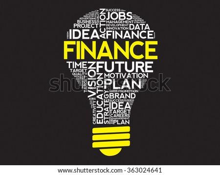 FINANCE bulb word cloud, business concept - stock photo