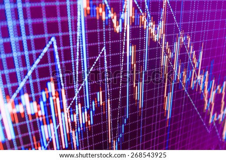 Finance business background, stock exchange chart graph.  Abstract stock market diagram trade. Blue, purple, violet, pink color.  - stock photo