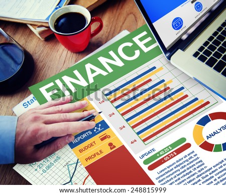 FInance Business Management Money Office Place of Work Concept - stock photo