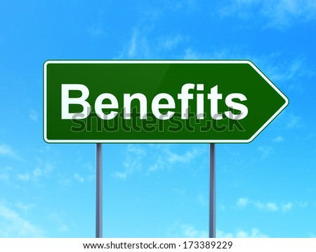 Finance concept: Benefits on green road (highway) sign, clear blue sky background, 3d render