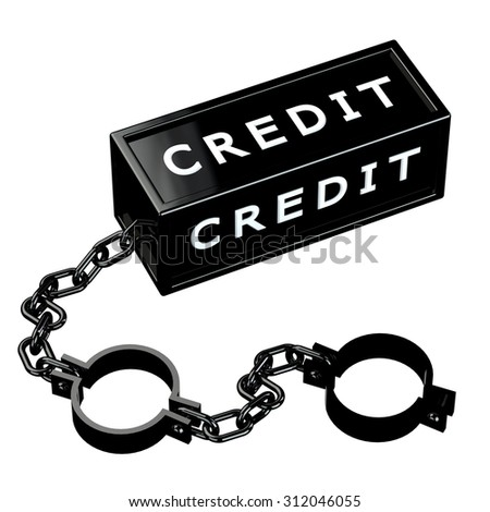 Finance concept: Black shackles with word credit, isolated on white background. 3D render. - stock photo