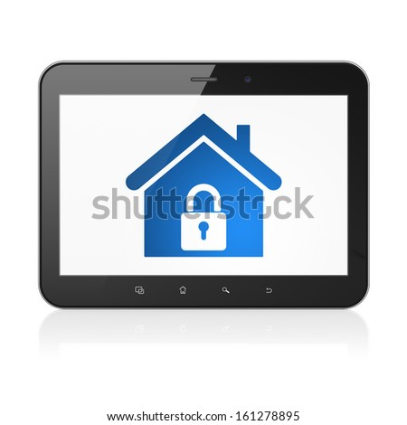 Finance concept: black tablet pc computer with Home icon on display. Modern portable touch pad on White background, 3d render - stock photo