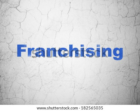 Finance concept: Blue Franchising on textured concrete wall background, 3d render - stock photo