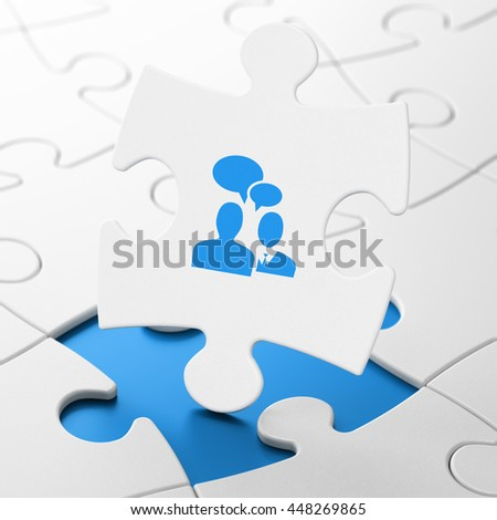 Finance concept: Business Meeting on White puzzle pieces background, 3D rendering - stock photo