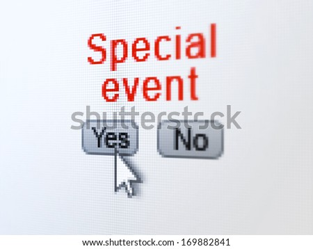Finance concept: buttons yes and no with pixelated word Special Event and Arrow cursor on digital computer screen, selected focus 3d render - stock photo